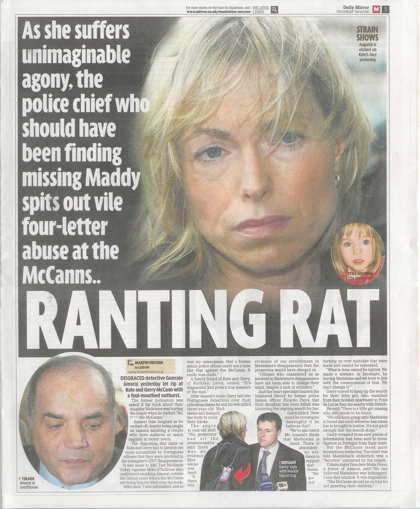 Cop who led initial hunt for Madeleine McCann vows to 'clean out' her parents. - Page 2 Mirror14012010