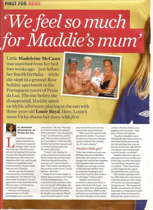 The lady by the pool - states Madeleine and her son played together on 2nd May 2007 Firstmagazinescan3cy7