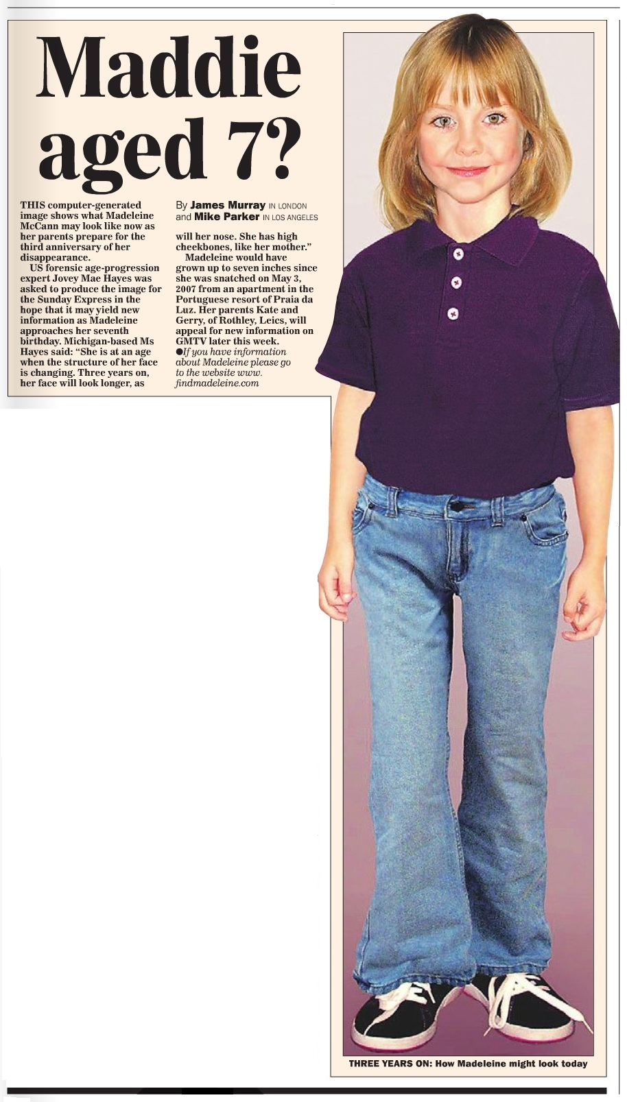 Source: McCannFiles.com, Sunday Express Scan